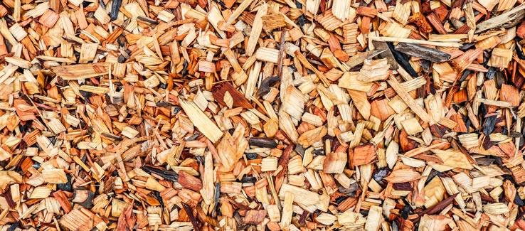 Summer garden mulch with wood chips