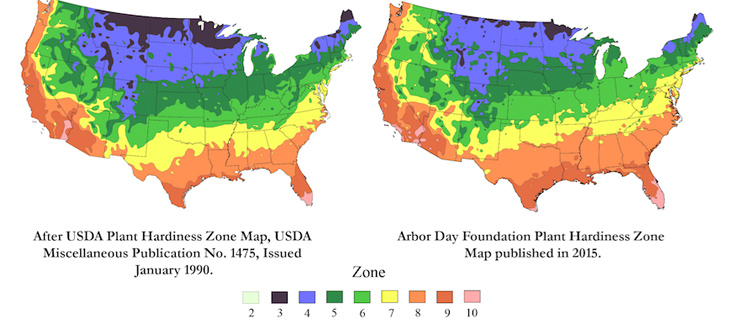 Climate change USDA hardiness zone map tree service Atlanta